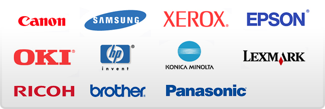 Canon, Samsung, Xerox, Epson, OKI, HP, Konica Minolta, Lexmark, Ricoh, Brother, Panasonic